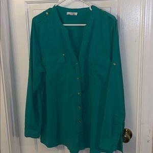 Green Calvin Klein blouse